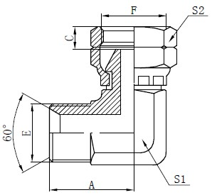 BSP Elbow Connector Tegning