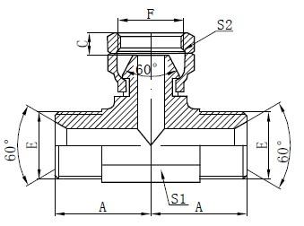 BSP Hydraulisk Tee Tegning
