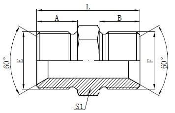 BSP Male Adapter Fittings Tegning