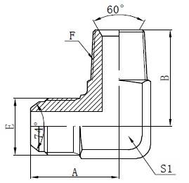 BSPT Male Adapter Connectors Tegning