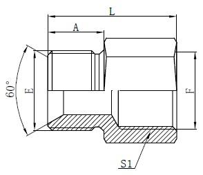 British Standard Slange Adaptors Tegning