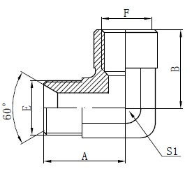 Elbow BSP Adapter Fittings Tegning