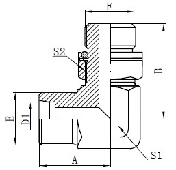 Elbow hydrauliske adaptere tegning