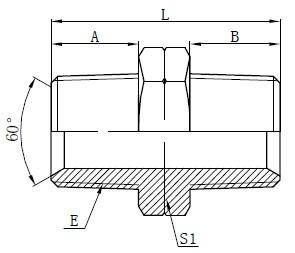 Hydrauliske NPT Male Adaptere Tegning