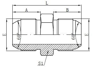 JIS Metric Male Adaptors Tegning