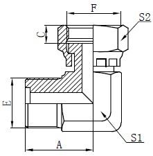 Metrisk Mand O-ring Fittings Tegning