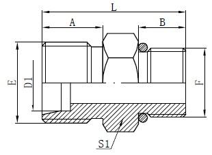 SAE O-ring Slangekoblinger Tegning